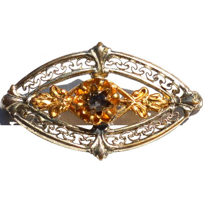 Victorian Era Filigree Pin, Two Toned Metal