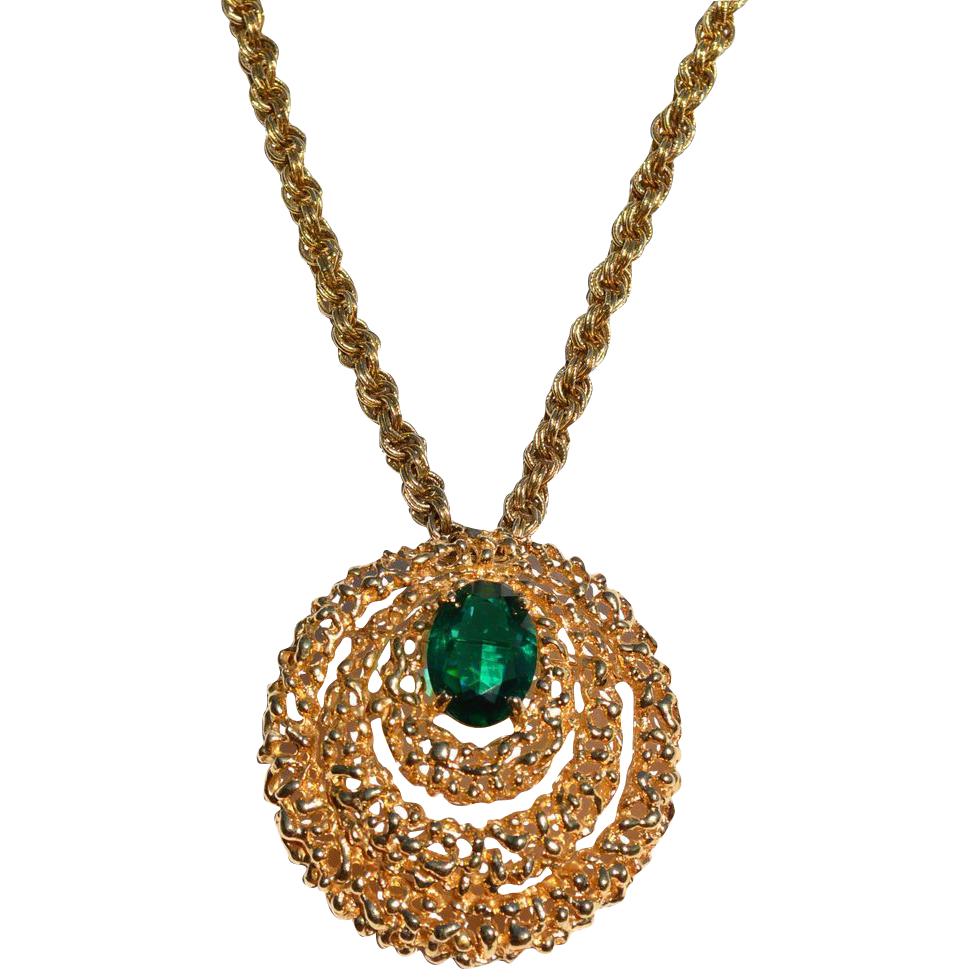 Vintage Signed PANETTA Emerald Green Stone Pin Pendant Necklace