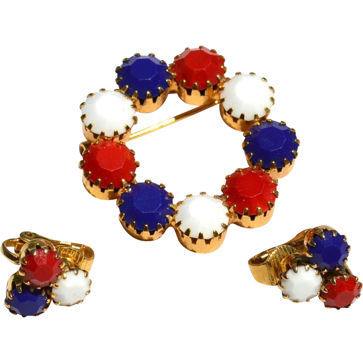 Vintage PAtriotic Red White and Blue Rhinestone Demi, Pin Earrings