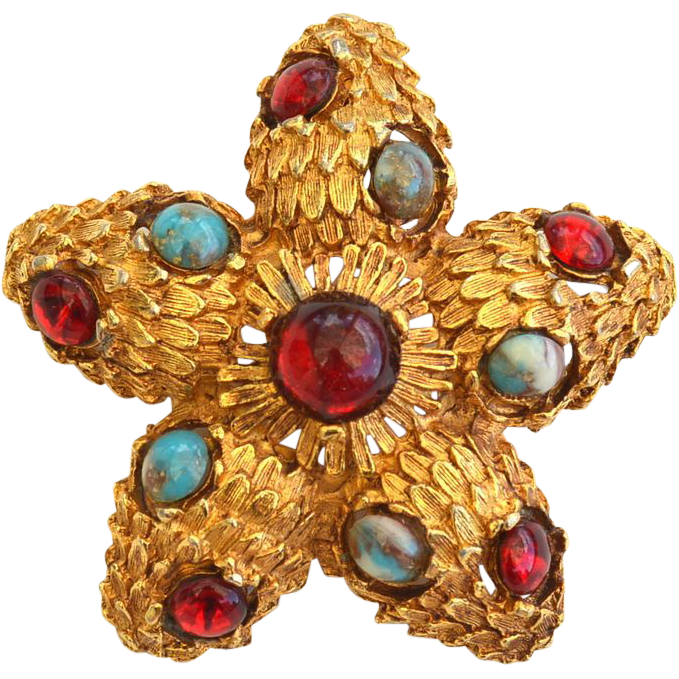 Vintage Star Shaped BeJeweled Pin Pendant, Faux Turquoise and Ruby