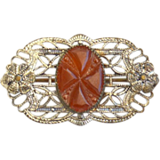 Early Art Deco Filigree Pin With Carved Carnelian Stone Center
