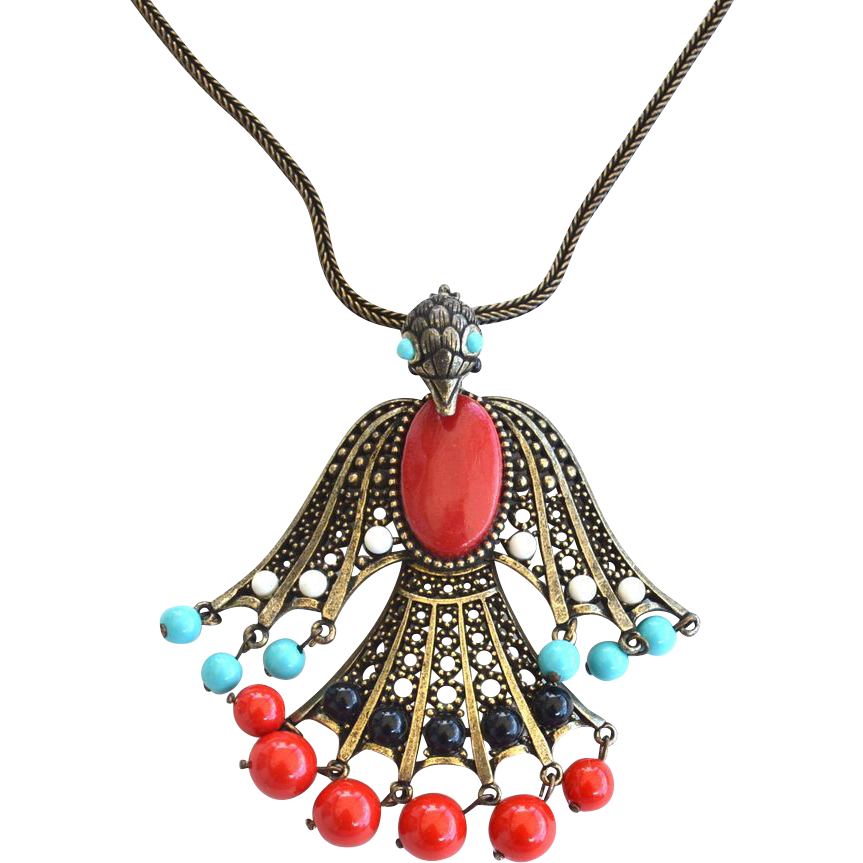 Vintage Oversized Dangling Bird Necklace