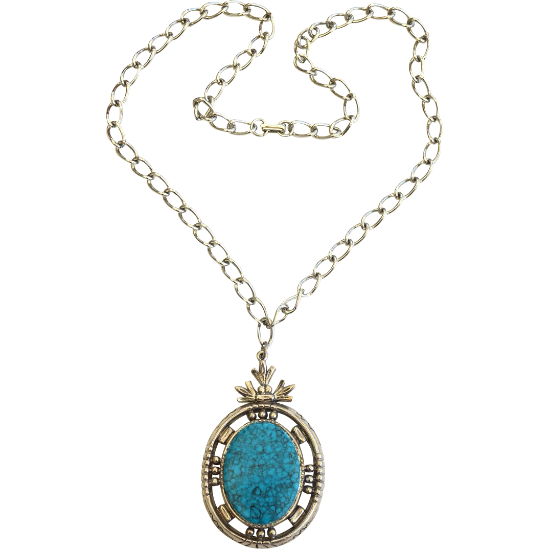 Vintage Signed ART Faux Turquoise Native American Style Necklace