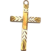 Early Hallmarked 12K Gold Fill Cross Pendant, Two Toned Metal