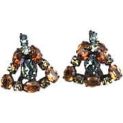 Vintage SCHREINER Rhinestone Clip Earrings