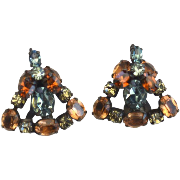 Vintage SCHREINER Rhinestone Clip Earrings