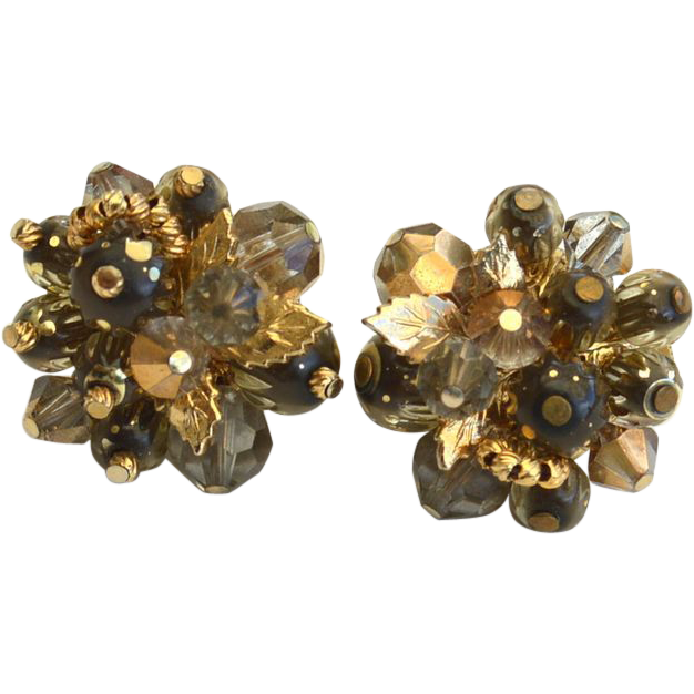 Vintage Signed VENDOME Gold and Gray Crystal Cluster Clip Earrings