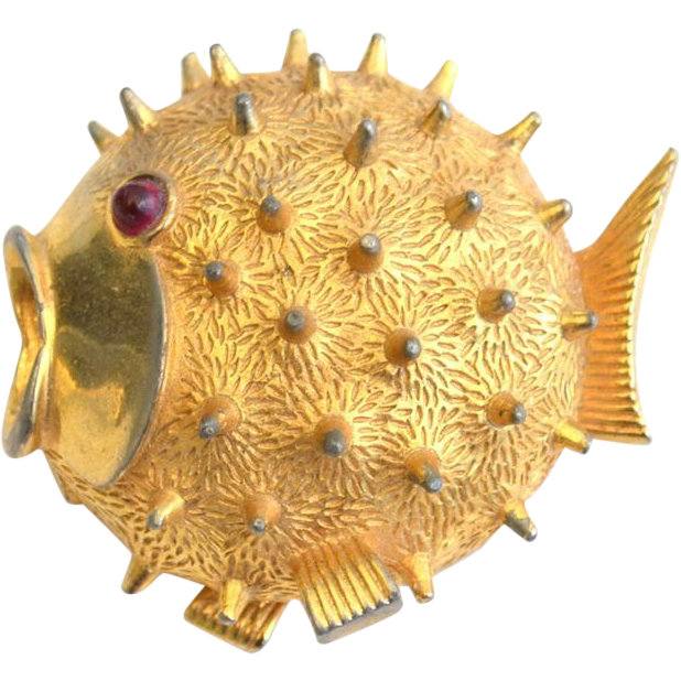 Vintage Signed BOUCHER Puffer Fish Pin