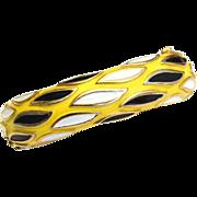 Vintage Signed CROWN TRIFARI Yellow Black and White Enamel Bracelet
