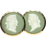 Vintage Signed GILT Green Jasperware Wedgwood Cameo Cufflinks