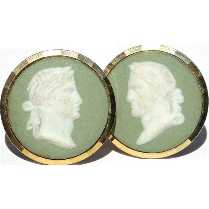 Vintage Signed GILT Green Jasperware Wedgwood Cameo Cufflinks