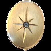 Vintage Hallmarked ANSON 12K Gold Fill Mens Tie Tack Pin, Genuine Diamond