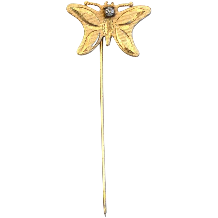 Vintage Hallmarked 14K Gold Filled Butterfly Stick Pin With Diamond