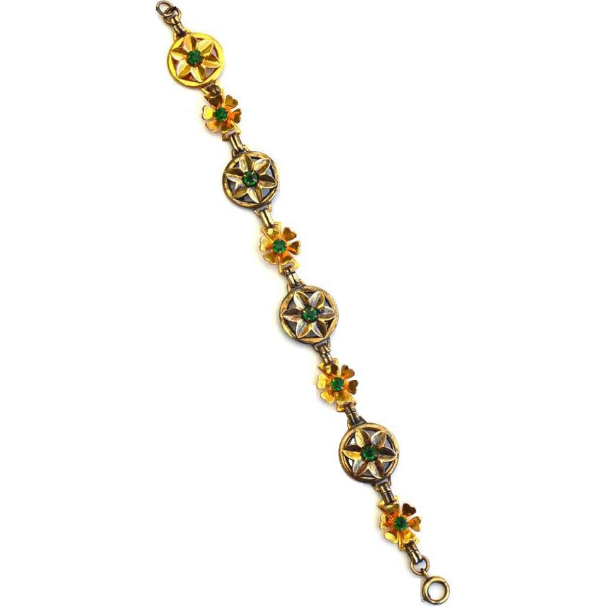 Vintage Hallmarked 12K Gold Filled Green Stone Bracelet