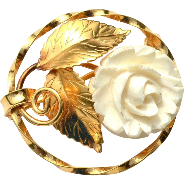 Vintage Hallmarked 14K Gold Filled Pin With Carved White Flower Rose