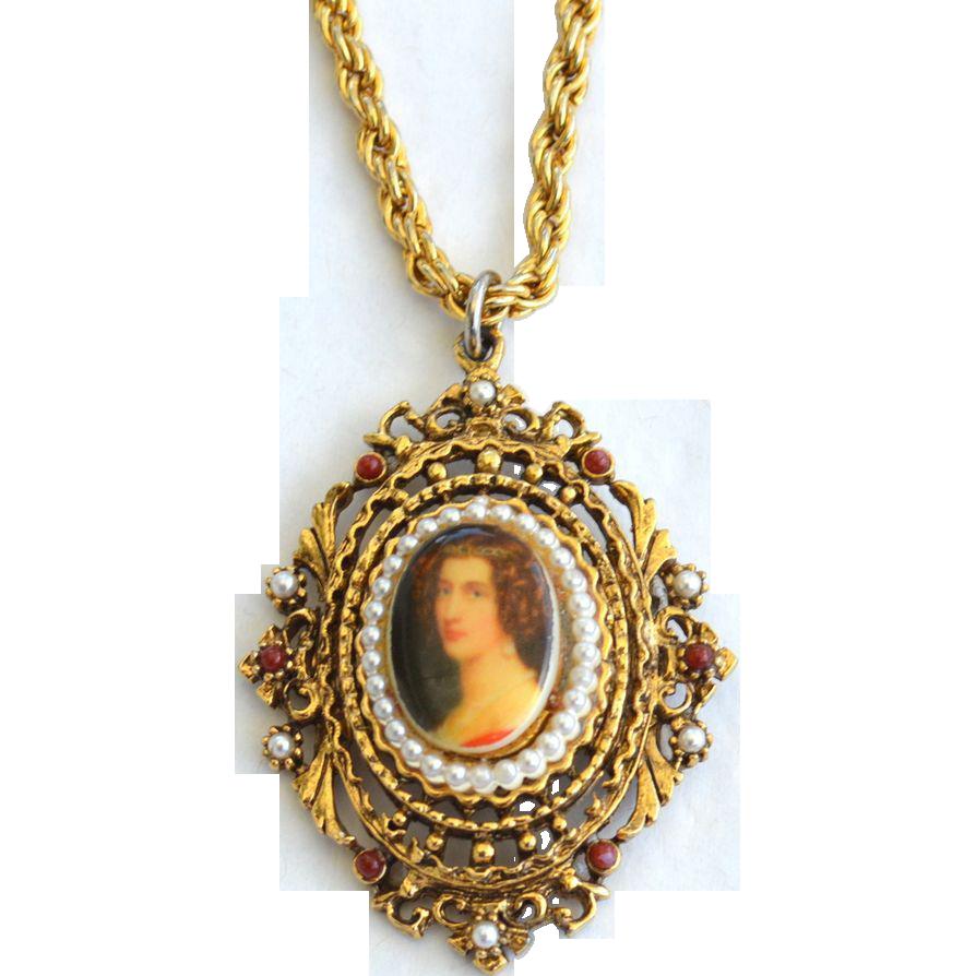 Vintage Signed ART Faux Porcelain Pendant Necklace, Victorian Revival