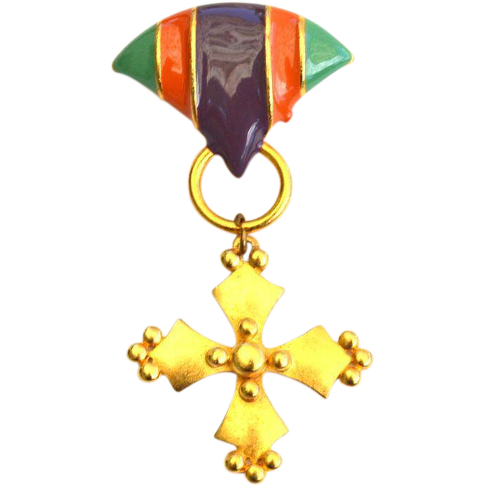 Vintage Signed MJENT Enamel Maltese Cross Pin
