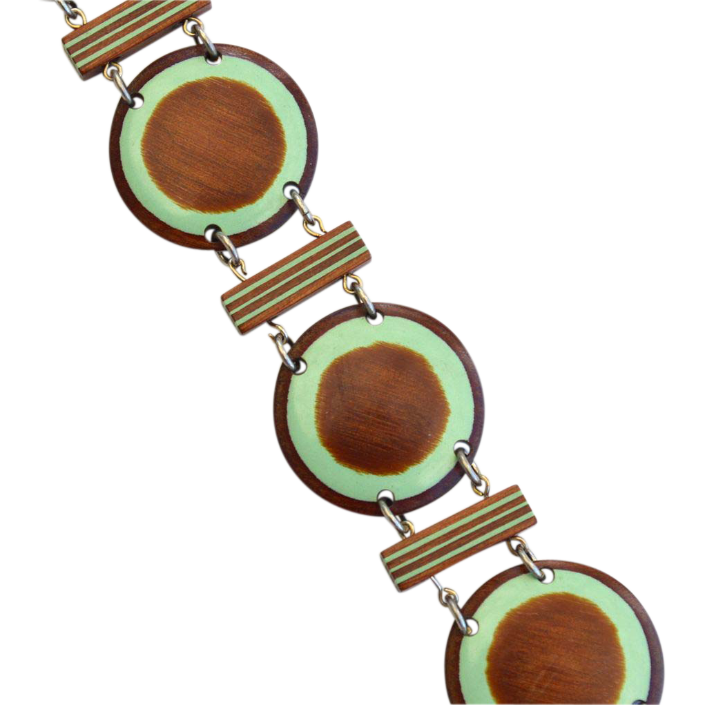 Vintage Painted Wood Bracelet, Sage Green Accents