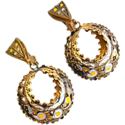 Vintage Damascene Clip Earrings, Dangling, Enamel