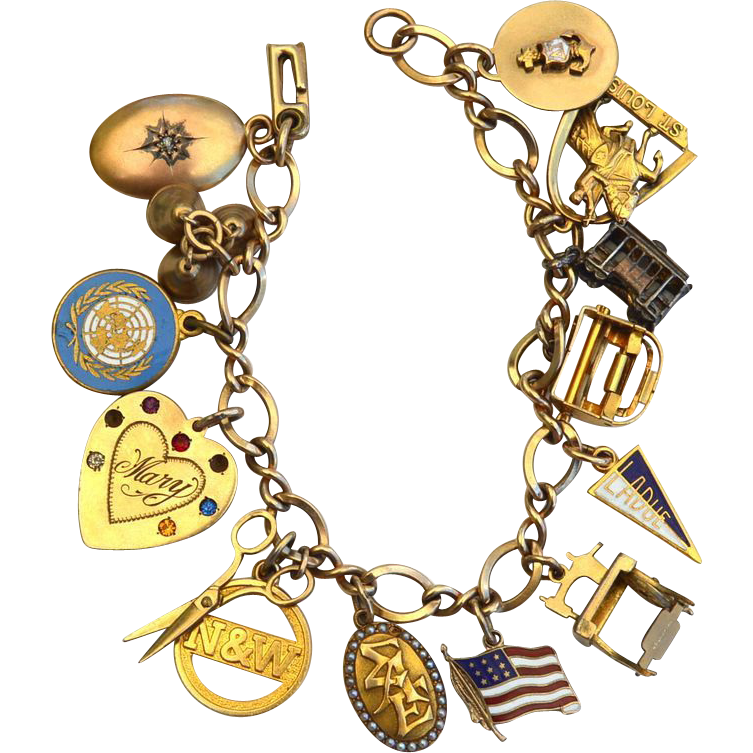 Early Gold Filled Charm Bracelet, Antique, Mechanical, Diamond, Stanhope