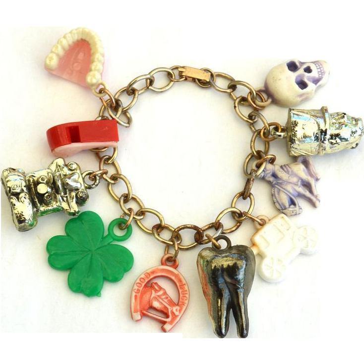 Vintage Cracker Jack Style Charm Bracelet, Plastic, Metal, Skull, Teeth