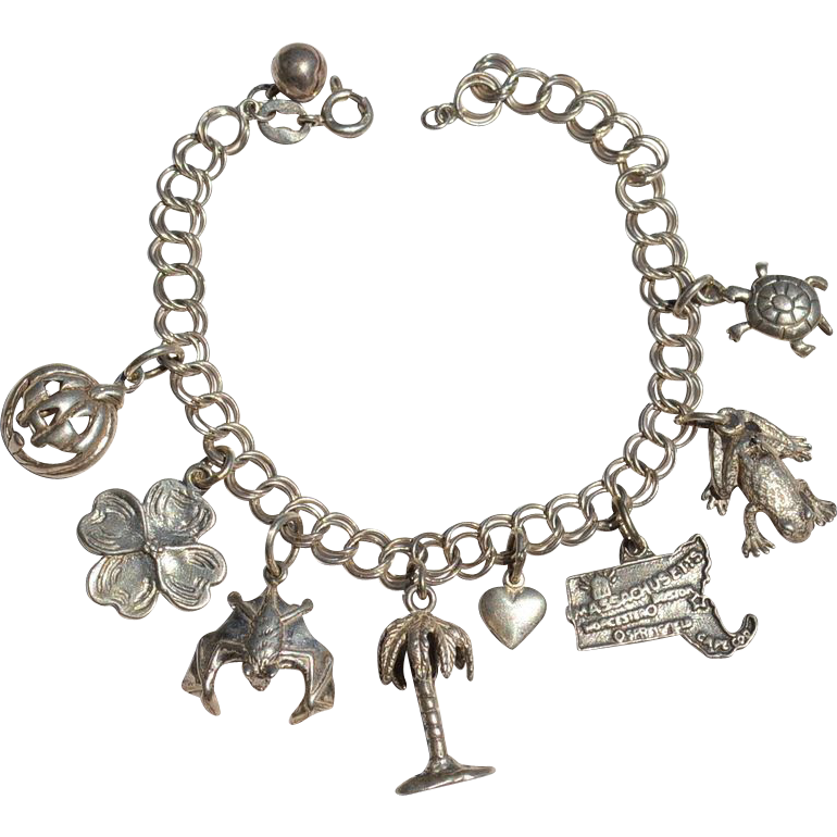 Vintage STERLING SILVER Charm Bracelet, Halloween, Pumpkin Frog Bat