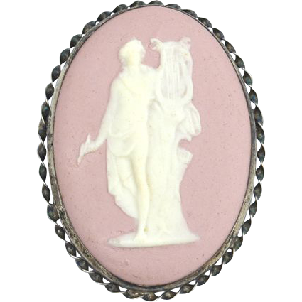 HUGE Early LS Peterson Sterling Silver and Pink Jasperware Cameo Pin