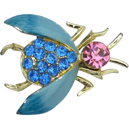 Vintage Enamel and Rhinestone Bug Pin