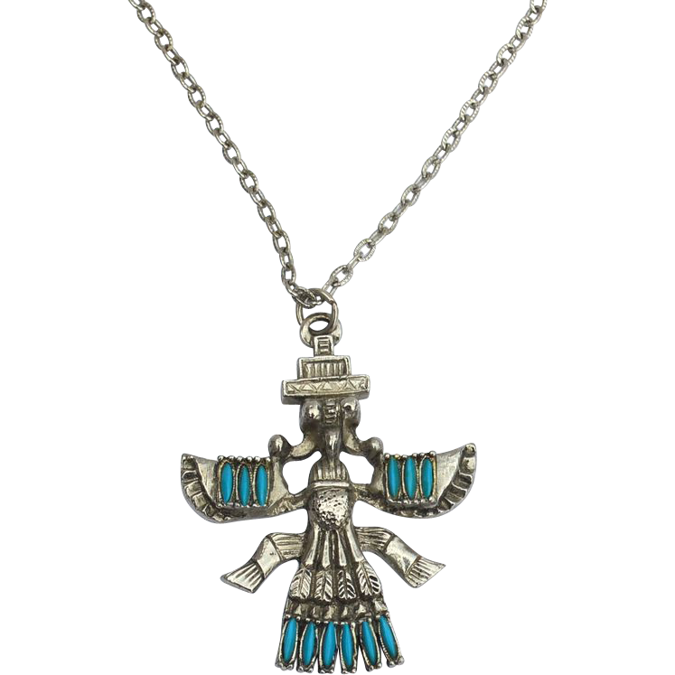 Vintage Faux Turquoise and Silver Tone Bird Man Necklace