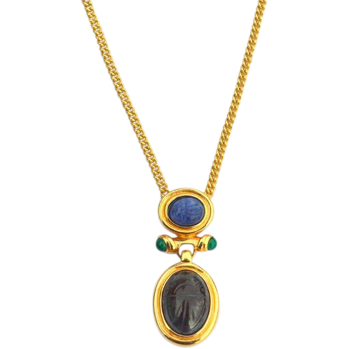 Vintage Well Made Scarab Pendant Necklace