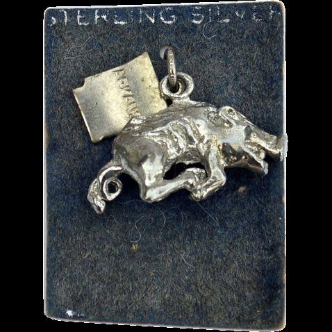 Vintage Hallmarked STERLING Silver Arkansas Razorbacks Charm, College Football