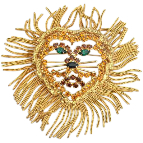 Vintage Oversized LION Pin Pendant With Fringe Mane
