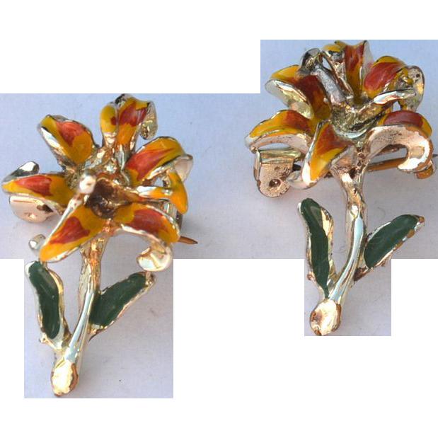 Vintage Enameled Scatter Pins FLOWERS