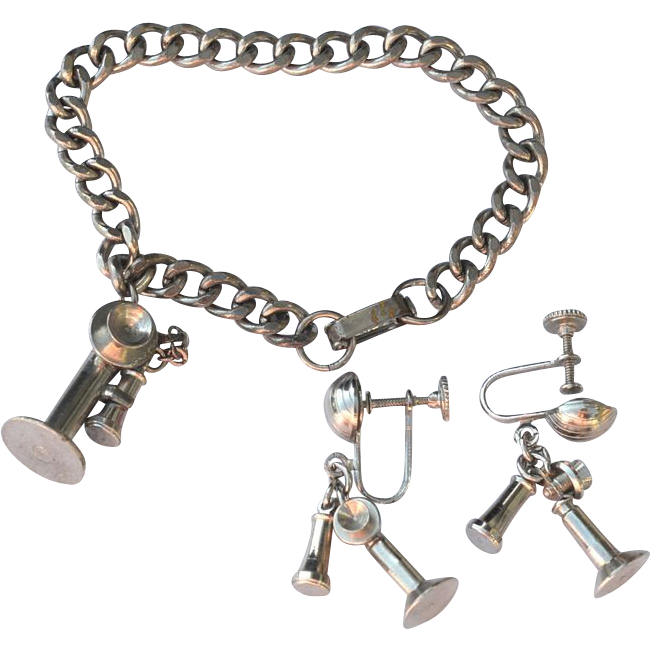 Vintage Silver Toned Old Fashioned Telephone Charm Bracelet and Matching Earrings