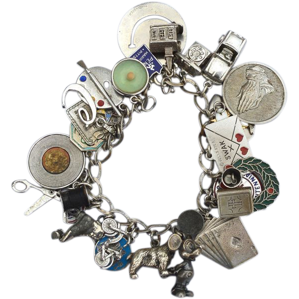 Vintage Hallmarked Loaded STERLING SILVER Charm Bracelet, Rare Charms! Thomas L Mott, 86 Grams! Stanhope Disney Mechanical