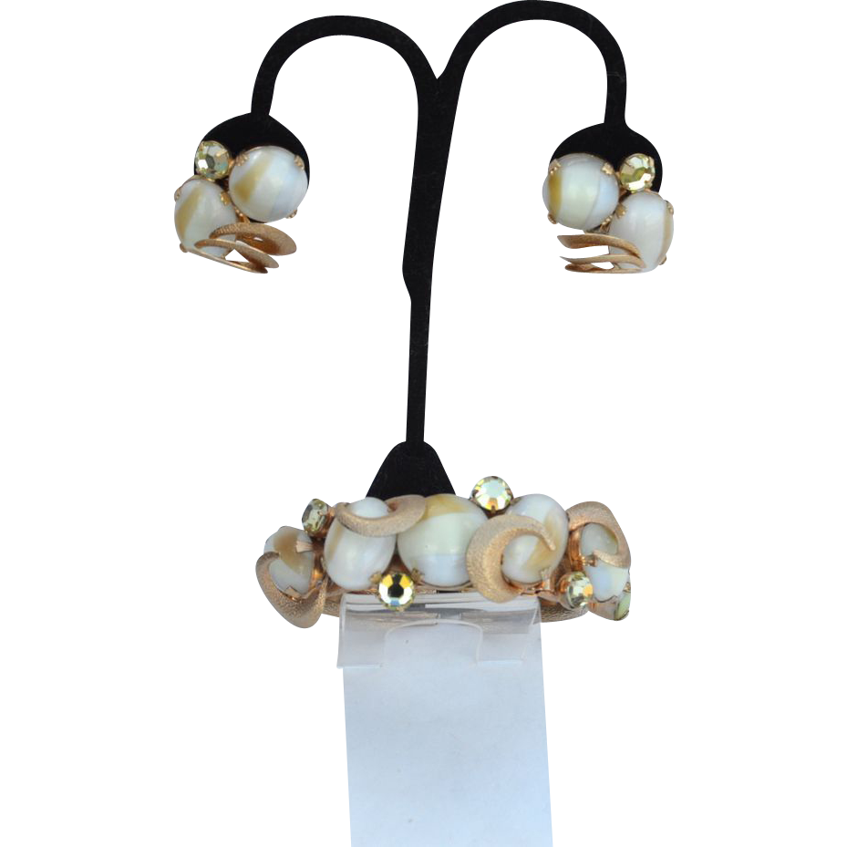 Amazing Swirled Art Glass And Rhinestone Gold Toned Demi, Cuff Bracelet and Matching Clip Earrings