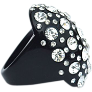 Huge Oversized Black Lucite Plastic Rhinestone Encrusted Ring