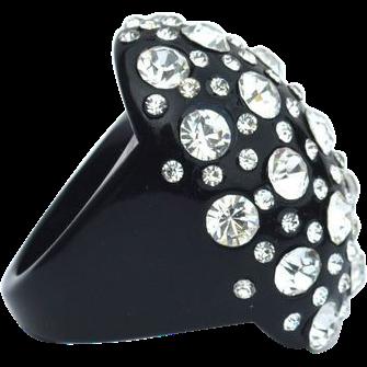 Huge Oversized Black Lucite Plastic Rhinestone Encrusted Ring