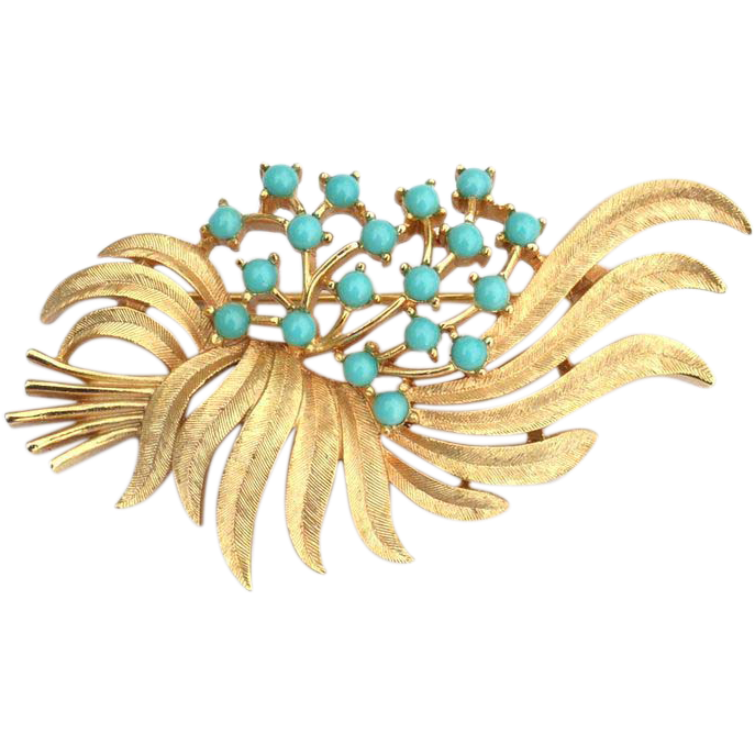 Vintage Signed CROWN TRIFARI Faux Turquoise Bead Pin