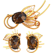 Vintage Ornate Brown Topaz Colored Glass Stone Demi, Pin and Earrings