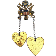Rare Signed CORO WWII Enamel Sweetheart Pin, Dangling To From Hearts