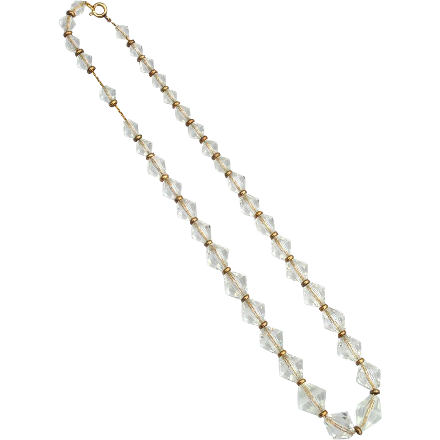 Vintage Hallmarked 12K Gold Filled Bicone Crystal Necklace
