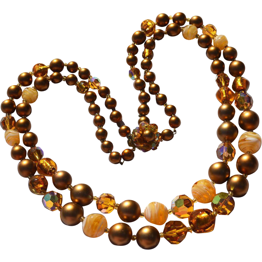 Vintage Gold and Amber Swirled Art Glass, Crystal and Bead Double Strand Necklace