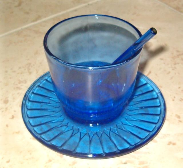 1930's Mac-Beth Evans Cobalt Ritz Blue Mustard Jar With Original Spoon