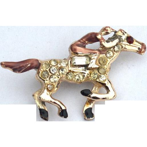 Early Vintage Race Horse and Jockey Pin, Enamel and Rhinestones