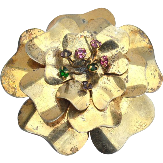 Early Vintage Hallmarked STERLING SILVER Dimensional Flower Pin, 36 Grams