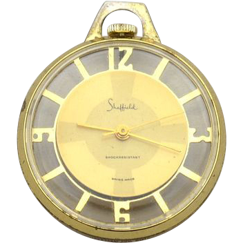 Vintage SHEFFIELD 1 Jewel Pendant Watch With Lucite