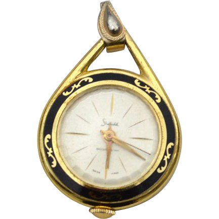 Vintage SHEFFIELD 1 Jewel Pendant Watch With Enameling, Works Perfectly!
