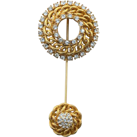 Vintage Rhinestone Encrusted Stick Pin With Ornate Bottom Stem Cover