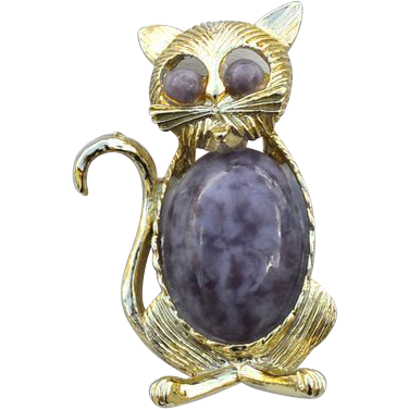 Vintage Signed GERRY'S Purple Art Glass Jelly Belly Cat Pin